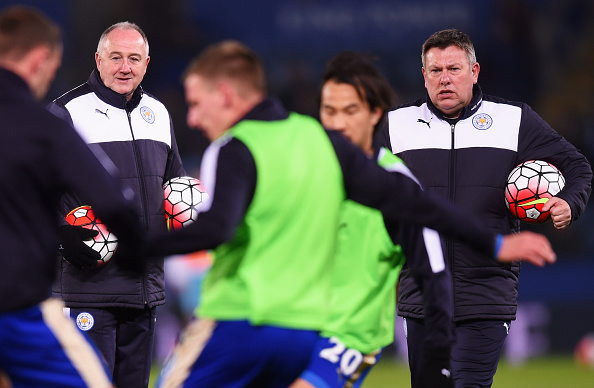 LEICESTER, ENGLAND - MARCH 14:  Assistant managers of Leicester City Steve Walsh (L) and Craig Shakespeare (R) watch players perform drills prior to the Barclays Premier League match between Leicester City and Newcastle United at The King Power Stadium on March 14, 2016 in Leicester, England.  (Photo by Michael Regan/Getty Images)