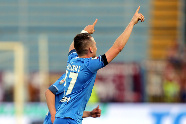 EMPOLI, ITALY - MAY 15: Piotr Zielinski of Empoli FC celebrates after scoring a goal during the Serie A match between Empoli FC and Torino FC at Stadio Carlo Castellani on May 15, 2016 in Empoli, Italy.  (Photo by Gabriele Maltinti/Getty Images)