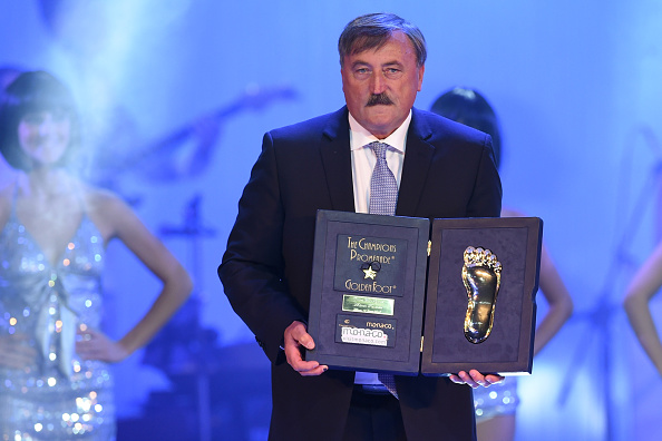MONTE-CARLO, MONACO - OCTOBER 13:  Antonin Panenka receives the Golden Foot Award trophy during the Golden Foot Award 2014 ceremony at Sporting Club on October 13, 2014 in Monte-Carlo, Monaco.  (Photo by Valerio Pennicino/Getty Images for Golden Foot)