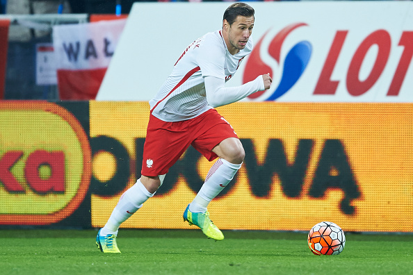 POZNAN, POLAND - MARCH 23: Grzegorz Krychowiak of Poland controls the ball during the international friendly soccer match between Poland and Serbia at the Inea Stadium on March 23, 2016 in Poznan, Poland. (Photo by Adam Nurkiewicz/Getty Images)