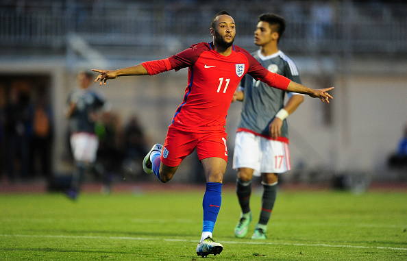 SIX-FOURS-LES-PLAGES, FRANCE - MAY 25: Nathan Redmond of England celebrates after scoring his sides fourth goal during the Toulon Tournament match between Paraguay and England at  Stade Antoinr Baptiste on May 25, 2016 in Six-Fours-Les-Plages, France. (Photo by Harry Trump/Getty Images)