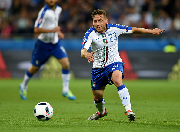 Emanuele Giaccherini of Italy in action during the UEFA EURO 2016 Group E match between Belgium and Italy at Stade des Lumieres on June 13, 2016 in Lyon, France.