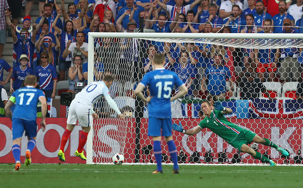 during the UEFA EURO 2016 round of 16 match between England and Iceland at Allianz Riviera Stadium on June 27, 2016 in Nice, France.