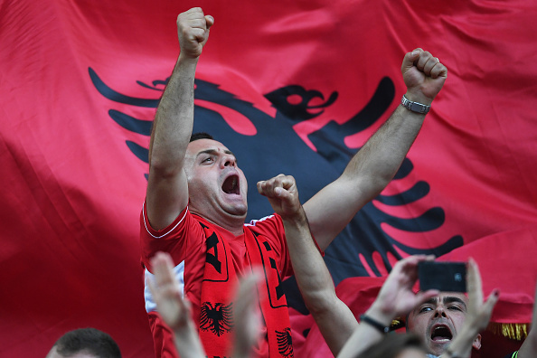 MARSEILLE, FRANCE - JUNE 15:  An Albania fan enjoys the pre match atmosphere during the UEFA EURO 2016 Group A match between France and Albania at Stade Velodrome on June 15, 2016 in Marseille, France.  (Photo by Laurence Griffiths/Getty Images)