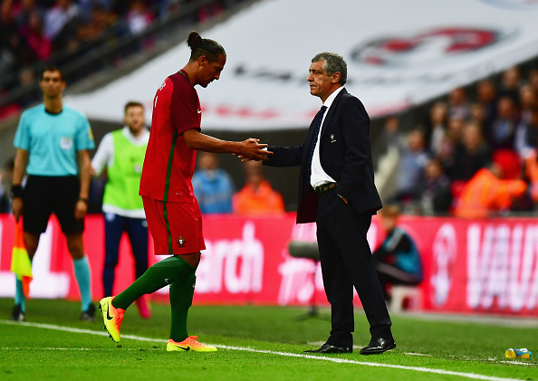 LONDON, ENGLAND - JUNE 02:  Bruno Alves of Portugal shakes hands with Fernando Santos manager of Portugal as he is sent off during the international friendly match between England and Portugal at Wembley Stadium on June 2, 2016 in London, England.  (Photo by Dan Mullan/Getty Images)