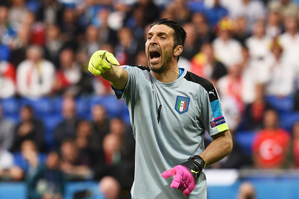 LYON, FRANCE - JUNE 13: Gianluigi Buffon of Italy shouts during the UEFA EURO 2016 Group E match between Belgium and Italy at Stade des Lumieres on June 13, 2016 in Lyon, France.  (Photo by Claudio Villa/Getty Images)
