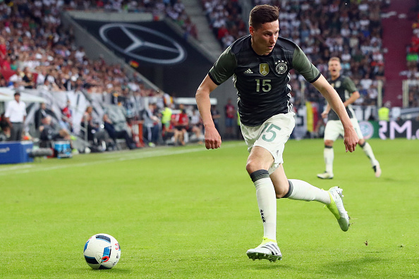 AUGSBURG, GERMANY - MAY 29:  Julian Draxler of Germany controles the ball during the international friendly match between Germany and Slovakia at WWK-Arena on May 29, 2016 in Augsburg, Germany.  (Photo by Alex Grimm/Bongarts/Getty Images)