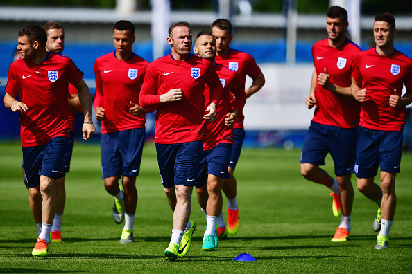 during an England training session ahead of the UEFA EURO 2016 at Stade du Bourgognes on June 7, 2016 in Chantilly, France. England's opening match at the European Championship is against Russia on June 11.