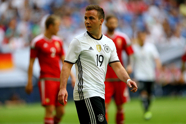 GELSENKIRCHEN, GERMANY - JUNE 04:  Mario Goetze of Germany looks on during the International Friendly match between Germany and Hungary at Veltins-Arena on June 4, 2016 in Gelsenkirchen, Germany.  (Photo by Christof Koepsel/Bongarts/Getty Images)