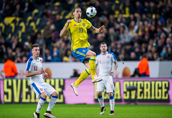 SOLNA, SWEDEN - MARCH 29: Czech Republics Jakub Rada and Swedens Zlatan Ibrahimovic during the international friendly between Sweden and Czech Republic at Friends Arena on March 29, 2016 in Solna, Sweden. (Photo by Marcus Ericsson/Ombrello/Getty Images)