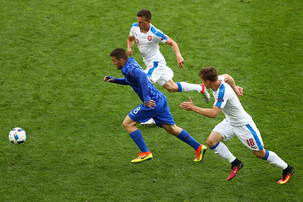 SAINT-ETIENNE, FRANCE - JUNE 17: Mateo Kovacic of Croatia is chased down by Josef Sural and Pavel Kaderabek of Czech Republic during the UEFA EURO 2016 Group D match between Czech Republic and Croatia at Stade Geoffroy-Guichard on June 17, 2016 in Saint-Etienne, France.  (Photo by Michael Steele/Getty Images)