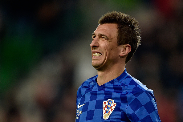 BUDAPEST, HUNGARY - MARCH 26:  Mario Mandzukic of Croatia reacts during the International Friendly match between Hungary and Croatia at Groupama Arena on March 26, 2016 in Budapest, Hungary.  (Photo by Dennis Grombkowski/Getty Images)