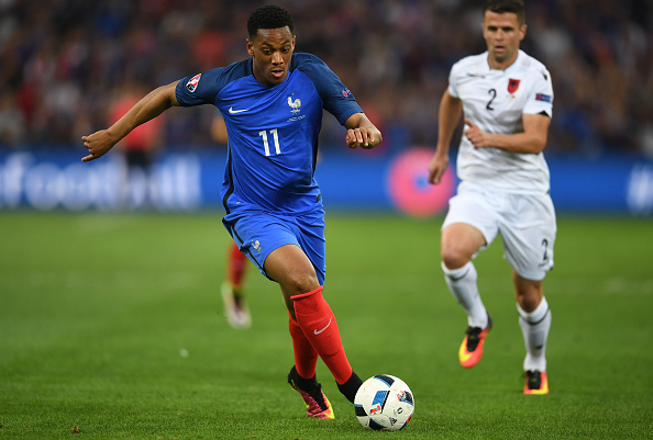 MARSEILLE, FRANCE - JUNE 15:  Anthony Martial of France runs with the ball during the UEFA EURO 2016 Group A match between France and Albania at Stade Velodrome on June 15, 2016 in Marseille, France.  (Photo by Laurence Griffiths/Getty Images)