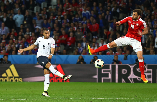 LILLE, FRANCE - JUNE 19: Dimitri Payet of France shoots at goal during the UEFA EURO 2016 Group A match between Switzerland and France at Stade Pierre-Mauroy on June 19, 2016 in Lille, France.  (Photo by Clive Mason/Getty Images)