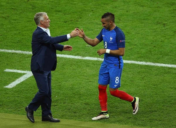 PARIS, FRANCE - JUNE 10:  Dimitri Payet of France high fives with Didier Deschamps manager of France as he is substituted during the UEFA Euro 2016 Group A match between France and Romania at Stade de France on June 10, 2016 in Paris, France.  (Photo by Paul Gilham/Getty Images)