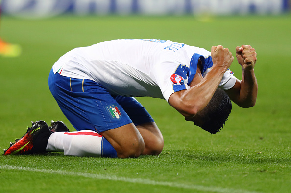 LYON, FRANCE - JUNE 13: Graziano Pelle of Italy reacts after his shot saved during the UEFA EURO 2016 Group E match between Belgium and Italy at Stade des Lumieres on June 13, 2016 in Lyon, France.  (Photo by Julian Finney/Getty Images)