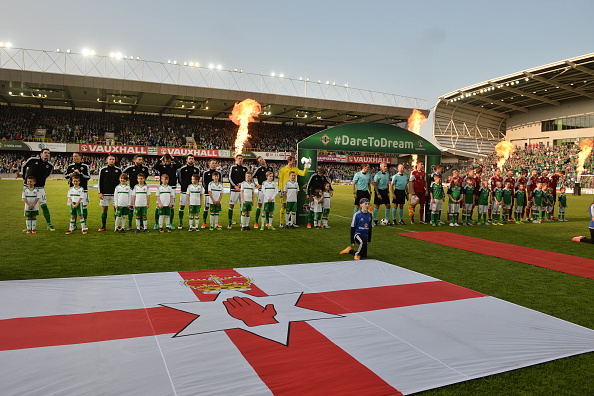BELFAST, NORTHERN IRELAND - MAY 27: Northern Ireland and Belarus line up before the international friendly game between Northern Ireland and Belarus on May 26, 2016 in Belfast, Northern Ireland. (Photo by Charles McQuillan/Getty Images)