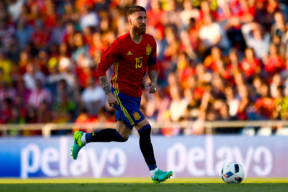 GETAFE, SPAIN - JUNE 07:  Sergio Ramos of Spain in action during an international friendly match between Spain and Georgia at Alfonso Perez stadium on June 7, 2016 in Getafe, Spain.  (Photo by David Ramos/Getty Images)