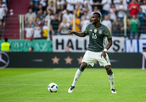AUGSBURG, GERMANY - MAY 29: Antonio Ruediger of Germany with ball during the international friendly match between Germany and Slovakia at WWK-Arena on May 29, 2016 in Augsburg, Germany starts. (Photo by Marc Mueller/Bongarts/Getty Images)