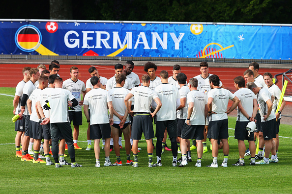 during a Germany training session ahead of the UEFA EURO 2016 at Ermitage Evian on June 7, 2016 in Evian-les-Bains, France. Germany's opening match at the European Championship is against Ukraine on June 12.