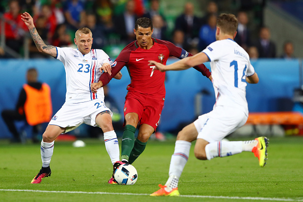 during the UEFA EURO 2016 Group F match between Portugal and Iceland at Stade Geoffroy-Guichard on June 14, 2016 in Saint-Etienne, France.