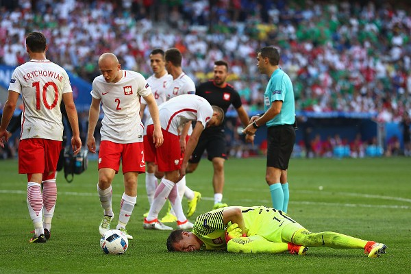 during the UEFA EURO 2016 Group C match between Poland and Northern Ireland at Allianz Riviera Stadium on June 12, 2016 in Nice, France.