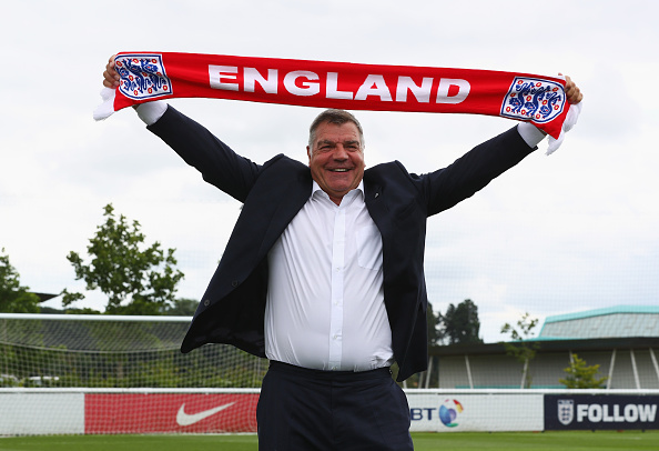 BURTON-UPON-TRENT, ENGLAND - JULY 25:  Newly appointed England manager Sam Allardyce poses after a press conference at St. George's Park on July 25, 2016 in Burton-upon-Trent, England.  (Photo by Matthew Lewis/Getty Images)