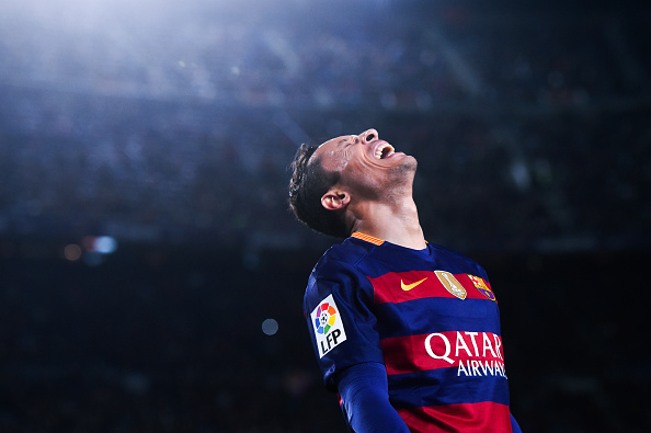 BARCELONA, SPAIN - DECEMBER 30:  Adriano Correia of FC Barcelona reacts during the La Liga match between FC Barcelona and Real Betis Balompie at Camp Nou on December 30, 2015 in Barcelona, Spain.  (Photo by David Ramos/Getty Images)