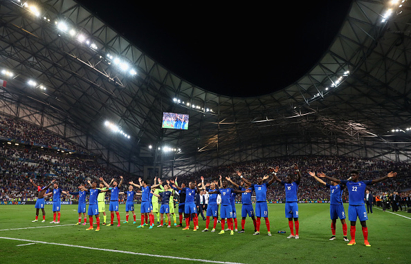 during the UEFA EURO semi final match between Germany and France at Stade Velodrome on July 7, 2016 in Marseille, France.