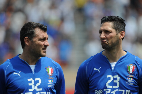 TOKYO, JAPAN - JUNE 09:  Christian Vieri (L) and Marco Materazzi look on during the J.League Legend and Glorie Azzurre match at the National Stadium on June 9, 2013 in Tokyo, Japan.  (Photo by Masashi Hara/Getty Images)