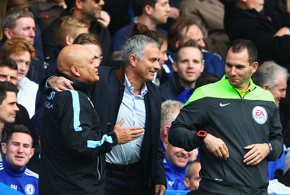 during the Barclays Premier League match between Chelsea and Aston Villa at Stamford Bridge on October 17, 2015 in London, England.