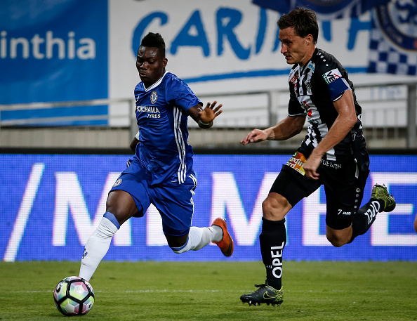 VELDEN, AUSTRIA - JULY 20:  Christian Atsu (L) of Chelsea in action against Dario Baldauf (R) of WAC RZ Pellets the friendly match between WAC RZ Pellets and Chelsea F.C. at Worthersee Stadion on July 20, 2016 in Velden, Austria. (Photo by Srdjan Stevanovic/Getty Images)