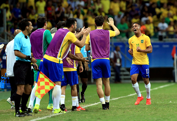 SALVADOR, BRAZIL - AUGUST 10: Gabriel Jesus of Brazil celebreates after scoring during the match Brazil v Denmark on Day 5 of the Rio 2016 Olympic Games at Arena Fonte Nova on August 10, 2016 in Salvador, Brazil. (Photo by Felipe Oliveira/Getty Images)
