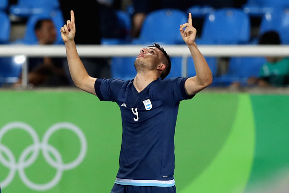 during the Men's Group D first round match between Argentina and Algeria during the Rio 2016 Olympic Games at the Olympic Stadium on August 7, 2016 in Rio de Janeiro, Brazil.