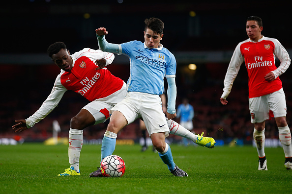 during the FA Youth Cup semi-final second leg match between Arsenal and Manchester City at Emirates Stadium on April 4, 2016 in London, England.