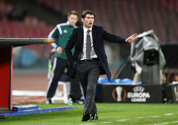 NAPLES, ITALY - FEBRUARY 25:  Coach Marcelino Garcia Toral gestures during the UEFA Europa League Round of 32 second leg match between SSC Napoli and Villarreal FC on February 25, 2016 in Naples, Italy.  (Photo by Francesco Pecoraro/Getty Images)