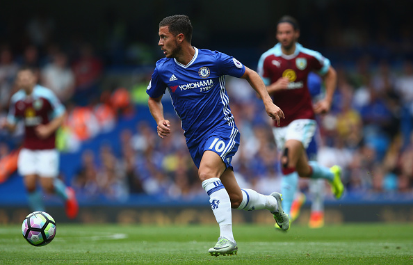 LONDON, ENGLAND - AUGUST 27: Eden Hazard of Chelsea in action during the Premier League match between Chelsea and Burnley at Stamford Bridge on August 27, 2016 in London, England.  (Photo by Steve Bardens/Getty Images)