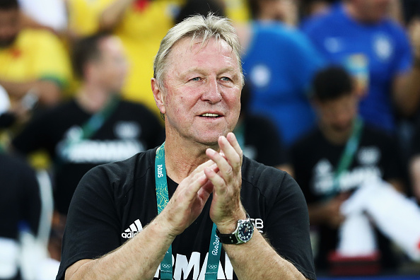 RIO DE JANEIRO, BRAZIL - AUGUST 20:  German head coach Horst Hrubesch looks on before the Men's Football Final between Brazil and Germany at the Maracana Stadium on Day 15 of the Rio 2016 Olympic Games on August 20, 2016 in Rio de Janeiro, Brazil.  (Photo by Clive Mason/Getty Images)
