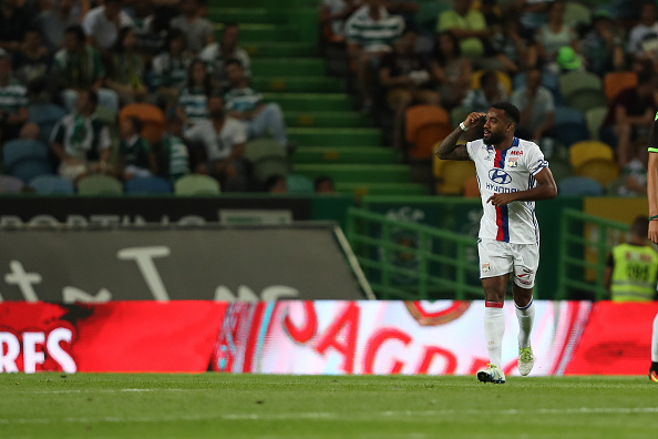 LISBON, PORTUGAL - JULY 23:  Lyon's forward Alexandre Lacazette celebrates scoring Lyon«s goal during the Friendly match between Sporting CP and Lyon at Estadio Jose Alvalade on July 23, 2016 in Lisbon, Portugal.  (Photo by Carlos Rodrigues/Getty Images)