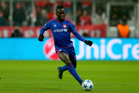 MUNICH, GERMANY - NOVEMBER 24:  Arthur Masuaku  of Olympiacos runs with the ball during the UEFA Champions League Group F match between FC Bayern Muenchen and Olympiacos FC at Allianz Arena on November 24, 2015 in Munich, Germany.  (Photo by Alexander Hassenstein/Bongarts/Getty Images)