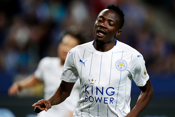 SOLNA, SWEDEN - AUGUST 03: Ahmed Musa of Leicester City FC celebrates after scoring to 1-3 during the International Champions Cup match between Leicester City FC and FC Barcelona at Friends arena on August 3, 2016 in Solna, Sweden. (Photo by Nils Petter Nilsson/Ombrello/Getty Images)