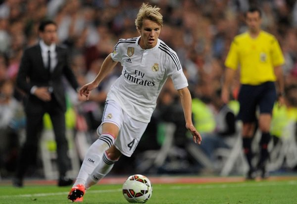MADRID, SPAIN - MAY 23:  Martin Odegaard of Real Madrid in action during the La Liga match between Real Madrid CF and Getafe CF at Estadio Santiago Bernabeu on May 23, 2015 in Madrid, Spain.  (Photo by Denis Doyle/Getty Images)