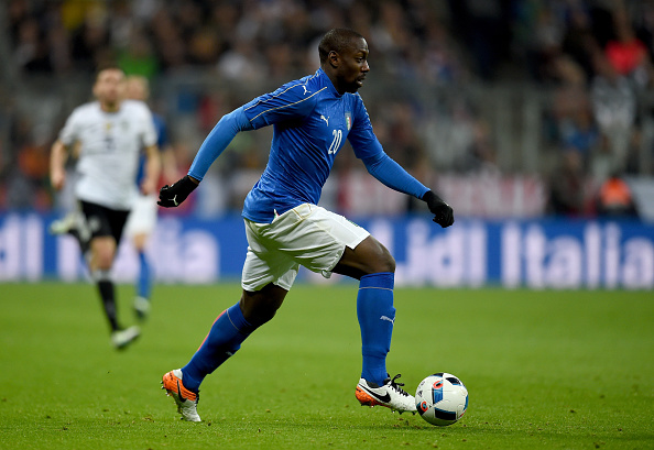 MUNICH, GERMANY - MARCH 29:  Stefano Okaka of Italy in action during the international friendly match between Germany and Italy at Allianz Arena on March 29, 2016 in Munich, Germany.  (Photo by Claudio Villa/Getty Images)