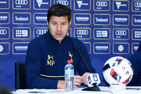 MELBOURNE, AUSTRALIA - JULY 26:  Tottenham Team Manager, Mauricio Pochettino speaks during the press conference after the 2016 International Champions Cup match between Juventus FC and Tottenham Hotspur at Melbourne Cricket Ground on July 26, 2016 in Melbourne, Australia.  (Photo by Daniel Pockett/Getty Images for ICC)