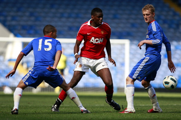 LONDON, ENGLAND - APRIL 10:  Lewis Baker (L) and George Saville (R) of Chelsea in action against Paul Pogba of Manchester United during the FA Youth Cup sponsored by E.on semi final first leg match between Chelsea and Manchester United at Stamford Bridge on April 10, 2011 in London, England.  (Photo by Dan Istitene/Getty Images)