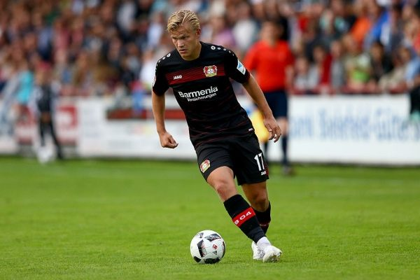 VERL, GERMANY - JULY 15:  Joel Pohjanpalo of Leverkusen runs with the ball during the friendly match between SC Verl and Bayer Leverkusen at Sportclub Arena on July 15, 2016 in Verl, Germany. The macth between Verl and Leverkusen ende 1-1.  (Photo by Christof Koepsel/Bongarts/Getty Images)