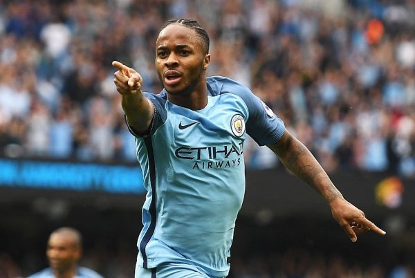 MANCHESTER, ENGLAND - AUGUST 28:  Raheem Sterling of Manchester City celebrates scoring the opening goal during the Premier League match between Manchester City and West Ham United at Etihad Stadium on August 28, 2016 in Manchester, England.  (Photo by Gareth Copley/Getty Images)