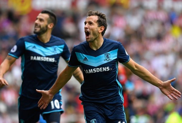 SUNDERLAND, ENGLAND - AUGUST 21:  Middlesbrough player Christian Stuani celebrates after scoring the opening goal during the Premier League match between Sunderland and Middlesbrough at Stadium of Light on August 21, 2016 in Sunderland, England.  (Photo by Stu Forster/Getty Images )