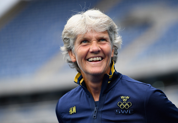 RIO DE JANEIRO, BRAZIL - AUGUST 03:  Pia Sundhage of Sweden looks on during the Women's Group E first round match between Sweden and South Africa during the Rio 2016 Olympic Games at the Olympic Stadium on August 3, 2016 in Rio de Janeiro, Brazil.  (Photo by Shaun Botterill/Getty Images)