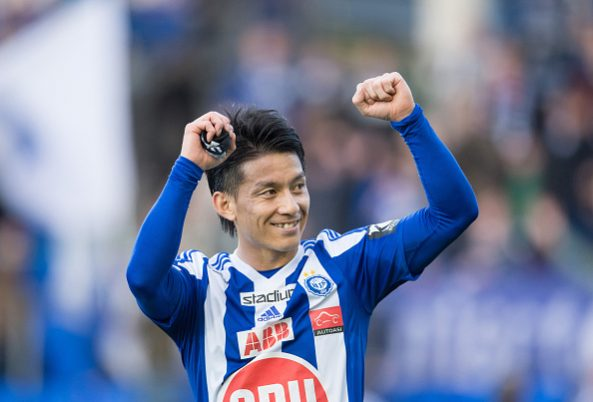 HELSINKI, FINLAND - MAY 11:  (FINLAND OUT) Atomu Tanaka of HJK Helsinki celebrates during the Finnish First Division match between HJK Helsinki and VPS Vaasa at Sonera Stadium on May 11, 2015 in Helsinki, Finland.  (Photo by Jussi Eskola/Getty Images)